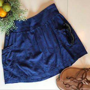 Blue Cotton Mini Skirt